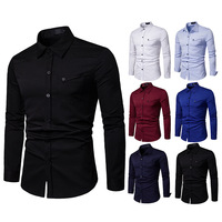 c9a69ed93 Brand Casual Shirts 2019 Fashion Korean High Quality Long Sleeves Dress  Shirt Men Solid Formal White