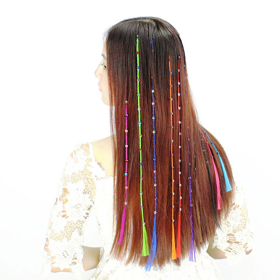 Seamless Color Diamond Hair Extensions Pieces Straight Hair Braid
