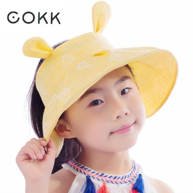 COKK Kids Summer Hats For Girls Boys Children Sun visor with Rabbit Ear  Cute Sun Hat 4b9c590e099