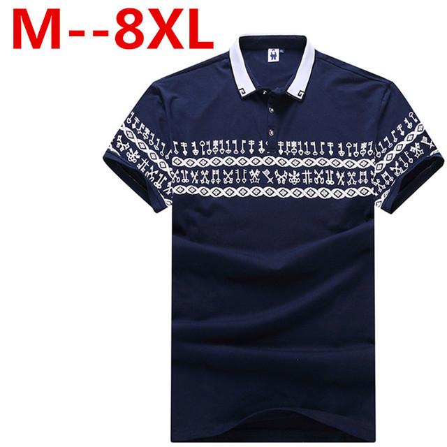 2016 Mens Polo de Manga Corta de Impresión Slim Fit Camisas Para Hombres Polo camisas de Verano Más Tamaño 9XL 8XL 7XL 6XL 5XL Camisa Polo Masculina
