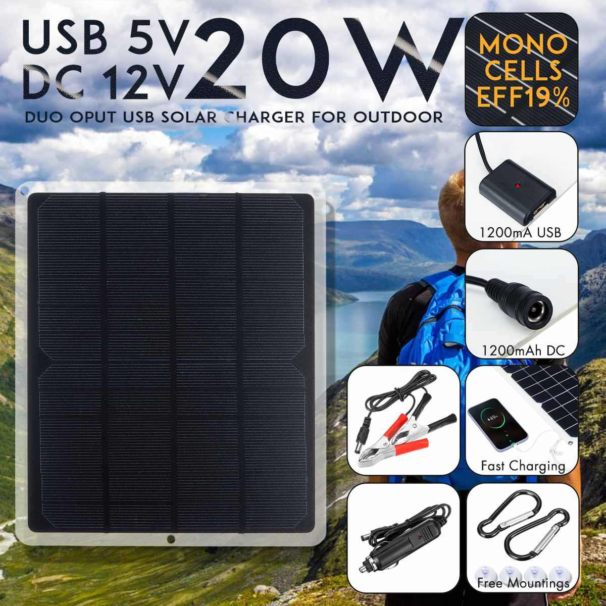 LEORY USB DC 12V 5V Solar Panel 20W Outdoor Portable Solar Cells Fast Soalr Charger For Battery Chargers Cigarette Lighter