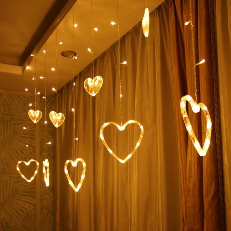 romantico amor levou luz luzes de natal indoor iluminacao decorativa cortinas amor lampada para festa do