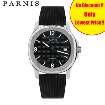 40mm Parnis Mechanical Watches Men Automatic Watch reloj hombre automatico Brand Rubber Strap Auto Date Sport Male xfcs Clock