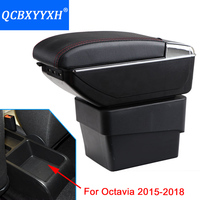 Cover For Skoda Octavia Armrest Box Central Store Content Box Storage Case Interior Car styling Decoration Aaccessory 2015 2018