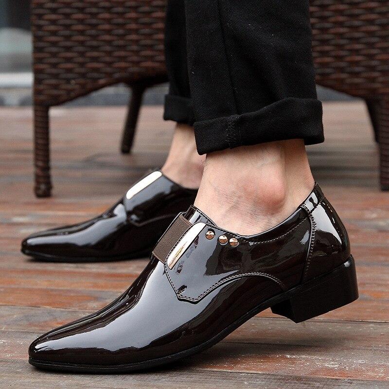 Verni Hommes Parti En Habillées Chaussures Mocassin Mariage De Cuir Italienne chocolat 2019 D'affaires Marque Pour Noir Homme Oxford IwqACU