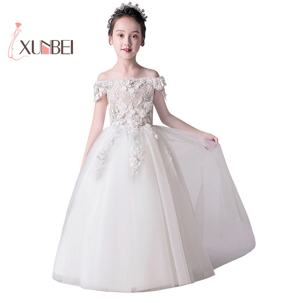 Luxury Ball Gown Off The Shoulder Beaded Applique Pink   Flower     Girl     Dresses   2019 Tulle Kids First Communion   Dress   Party Gown