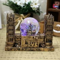 Modern Architecture Tower Bridge Decoracion Hogar Creative Resin Music Box For Lover Love Pattern Home Craft Crystal Ball Gifts