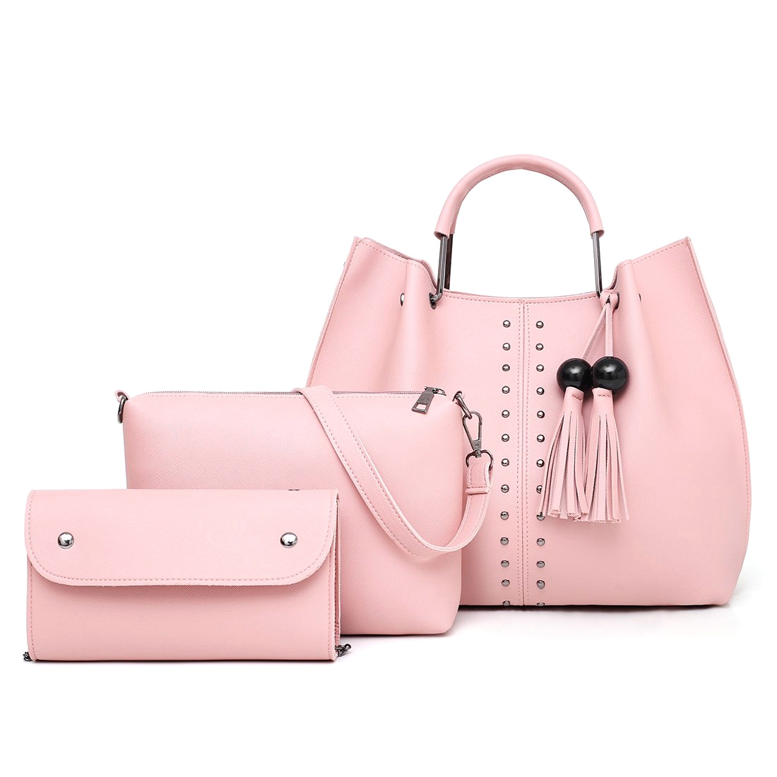 Orderly Ljl-tassel Handbag For Women Pu Leather Shoulder Bag Tote Satchel 3 Pcs Purse With Zipper Rivet Save 50-70% Shoulder Bags Luggage & Bags