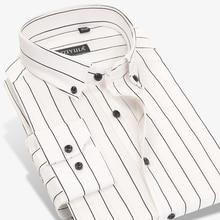 2017 herbst männer Kontrast Schwarz weiß Gestreiften Kleid Shirts 100% Baumwolle Business Slim fit Long Sleeve Button down Lässige Shirts