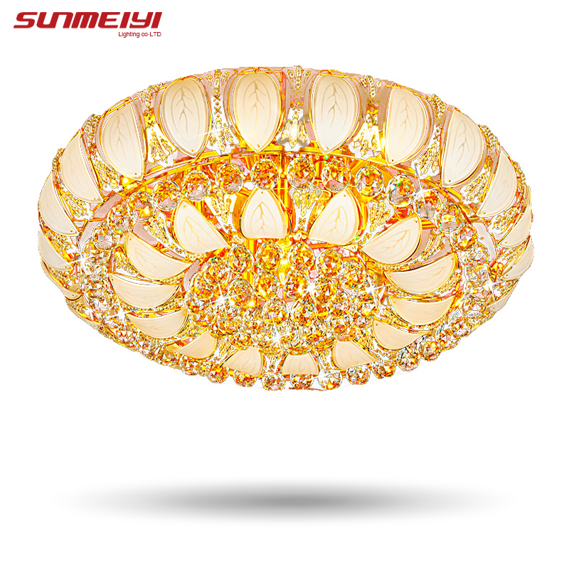 2018 Gold Round Crystal Ceiling Light For Living Room Indoor Lamp with Remote Controlled luminaria home decoration Free Shipping dia32cm 43cm 56cm hot selling vintage creative wicker round pedant light living room home decoration lamp free shipping pll 417