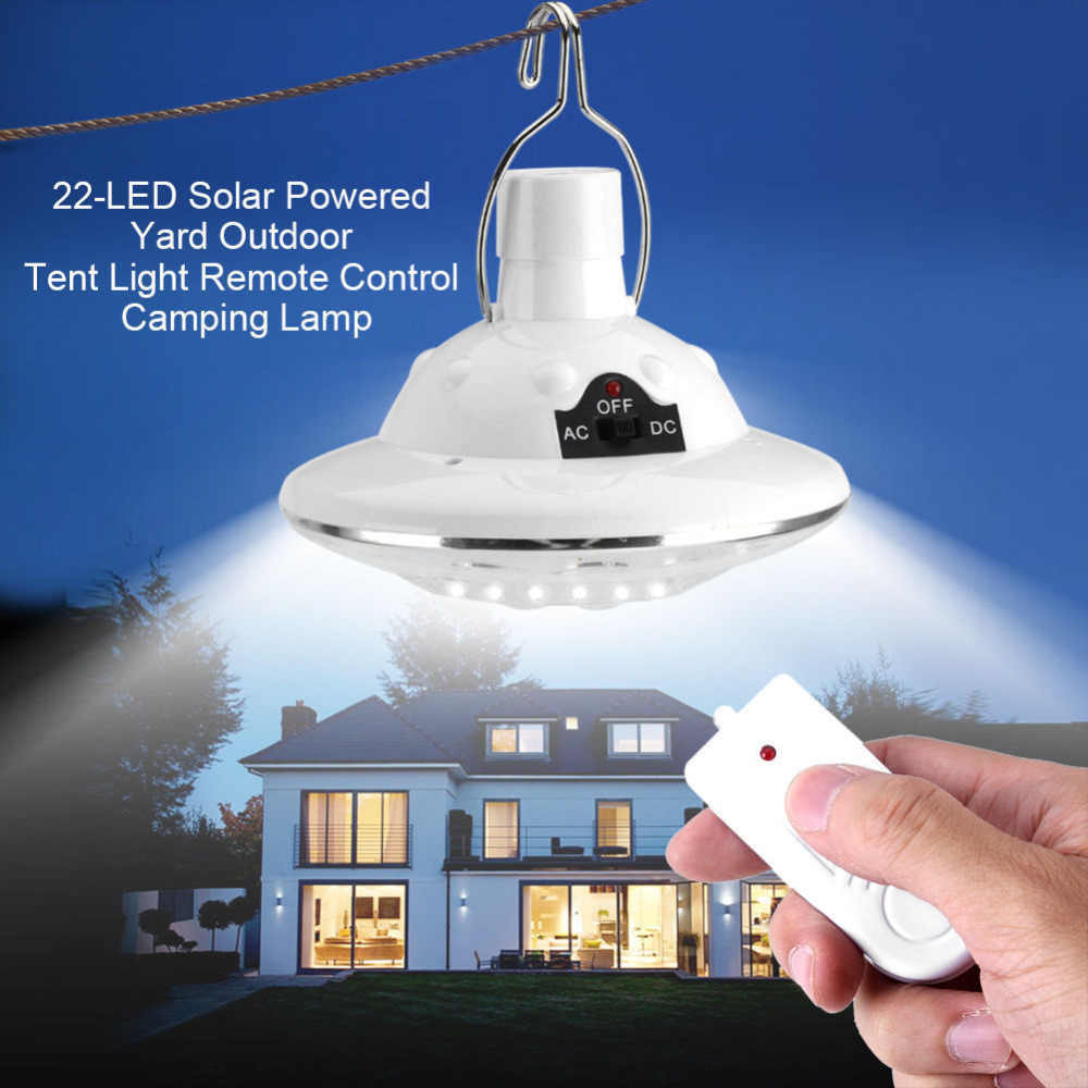 22LED Outdoor/Indoor Solar Lamp Hooking Camp Garden Lighting Remote Control Tent Light  Emergency Lamp