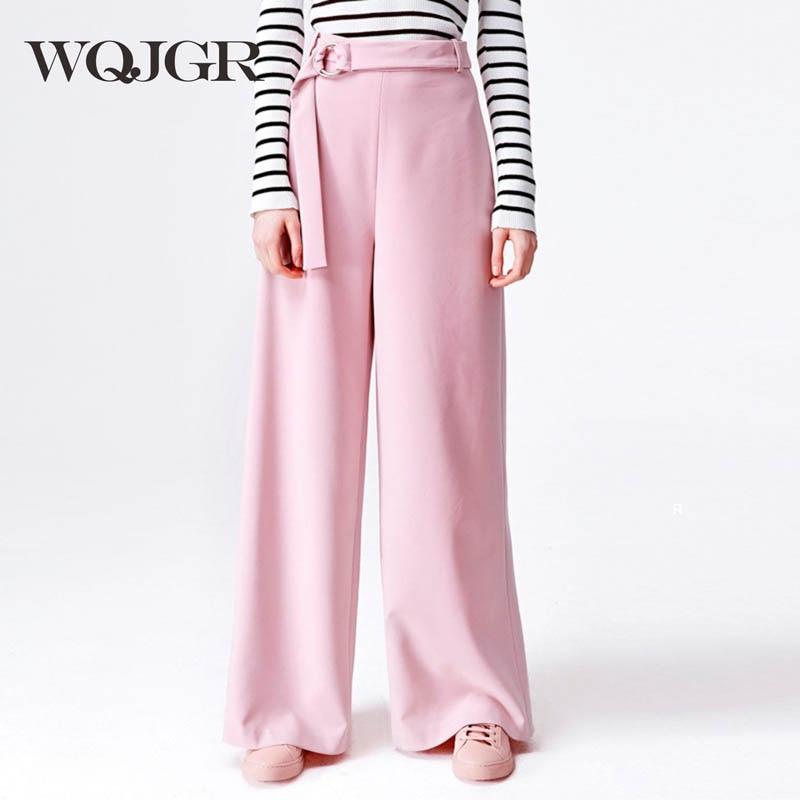 Trousers For Women Autumn European Pink Colour Concise Match Belt Easy Wide Leg Pants Leisure Time