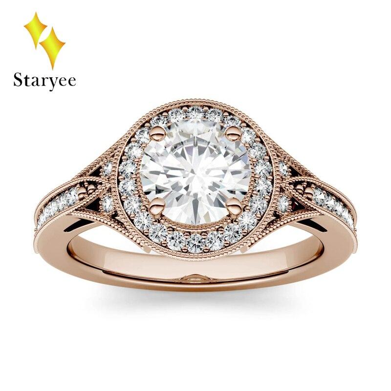 De luxe 1ct GH Couleur De Fiançailles De Mariage Moissanite rond diamanté Brillant bague halo Pour Les Femmes 18 K Or Rose