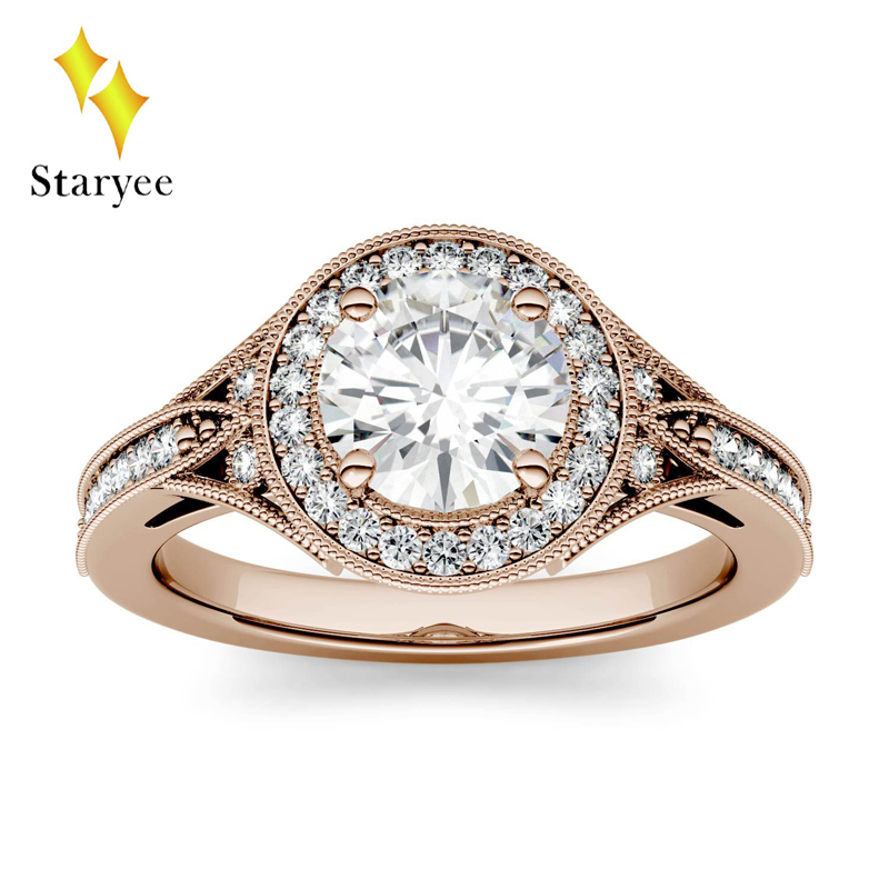 Di lusso 1ct GH Colore di Nozze di Fidanzamento Moissanite Del Diamante Brillante Rotondo Halo Anello Per Le Donne 18 K Oro Rosa