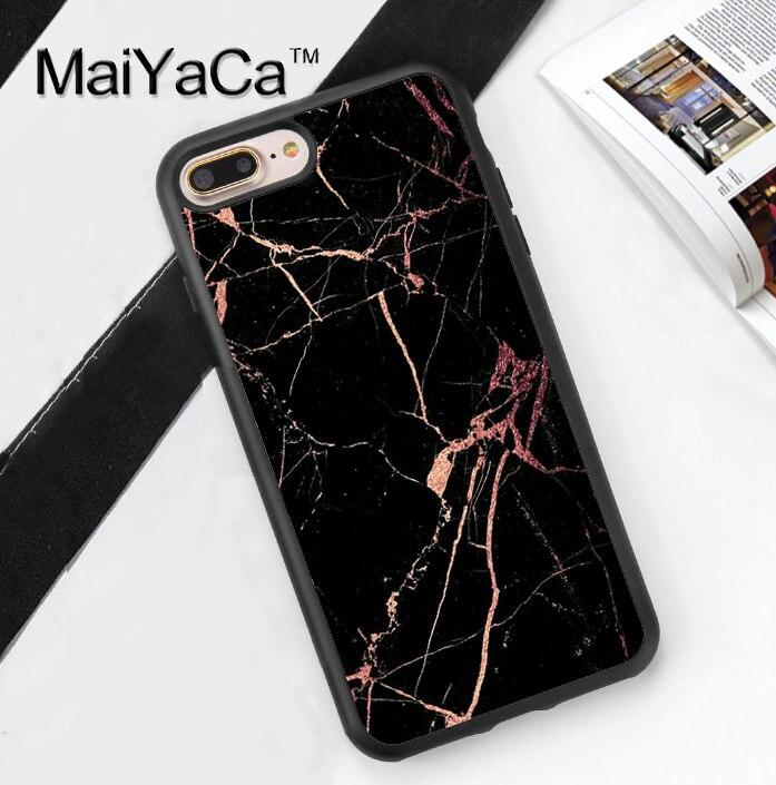 Luxury Bronzing Gold Marble Case For Iphone 7 Plus Luxury Black