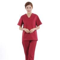 New Women Medical Scrub Sets Nurse Hospital Uniforms Dental Clinic Beauty Salon Short Sleeve Medical Workwear Slim Fit 2148