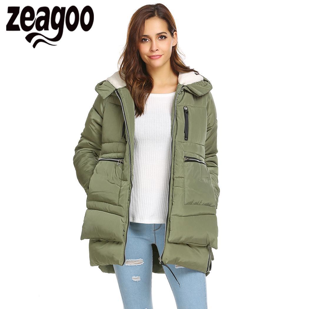 Asymétrique black À Zeagoo Patchwork Capuchon Manches Épaissir Green Ourlet Femmes 2018 Beige Outwear army Occasionnel Longue OxACw8qxp