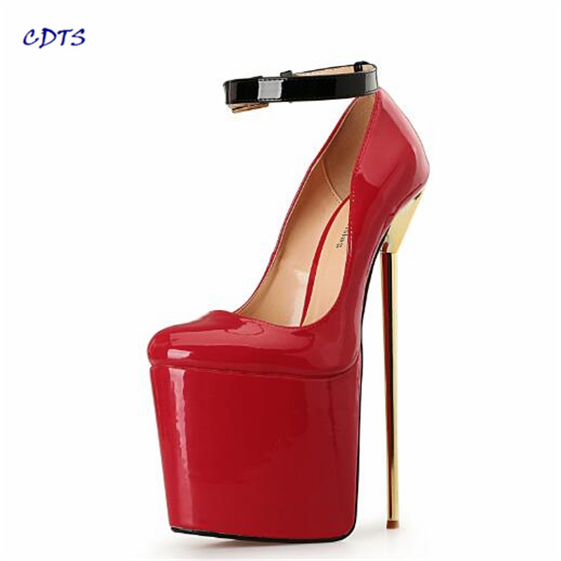 CDTS Stilettos Fashion 22cm Ultra high metal thin heels wedding shoes sexy Round toe Ankle-strap pumps Plus:40-45 46 47 48 49 50 cdts new 2017 shoes woman ankle strap summer round toe 15cm thin high heels platform wedding pumps big 35 45 46 zapatos mujer