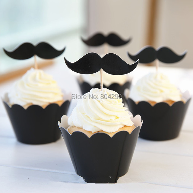 Hot Black paper cupcake wrappers mustache cake toppers wedding