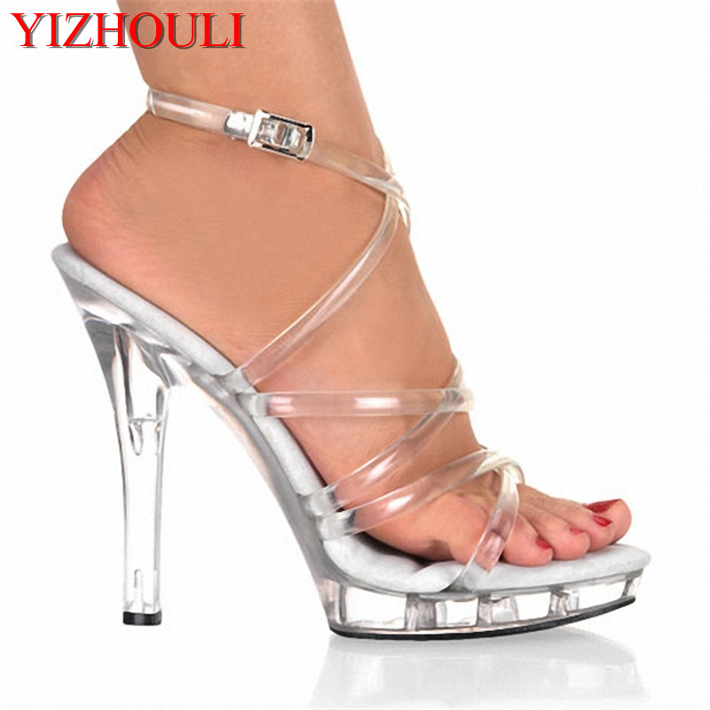 13cm sexy ultra high heels performance shoes crystal the bride wedding shoes lady s stage shoes