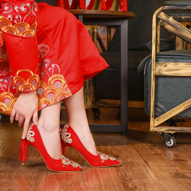 Vêtements Traditionnelle Talons rose Cm Femmes Chaussures Chinois Cm Chinoise 6 De Nu Beige National Tassel Haute Et Mariée Flock Pompes Rétro noir 5 Rouge Mariage SYY8Hq