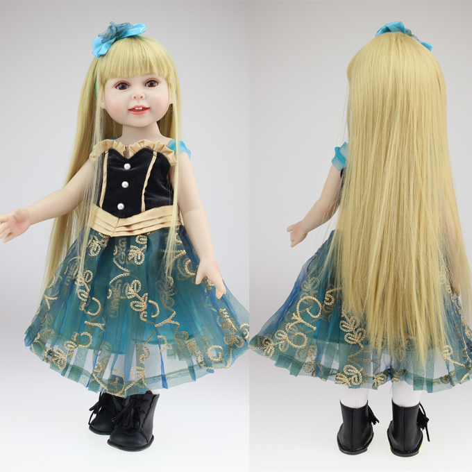 18 girl doll with dress shoes golden hair Reborn Baby doll full silicone baby doll baby toys for girls gift