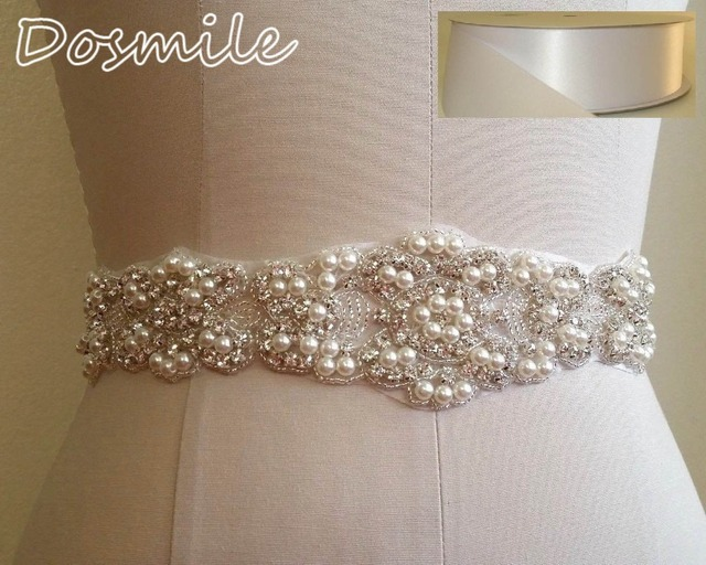 2016 NEW Crystal Wedding Sash Luxury Pearls Bridal Waist Belt Plus Size Satin Ribbon
