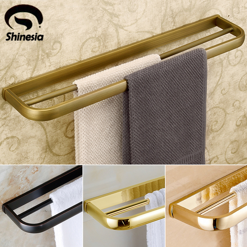 Antique Brass Solid Brass Bathroom Double Towel Bars Towel Rack Bathroom Accessory Wall Mounted