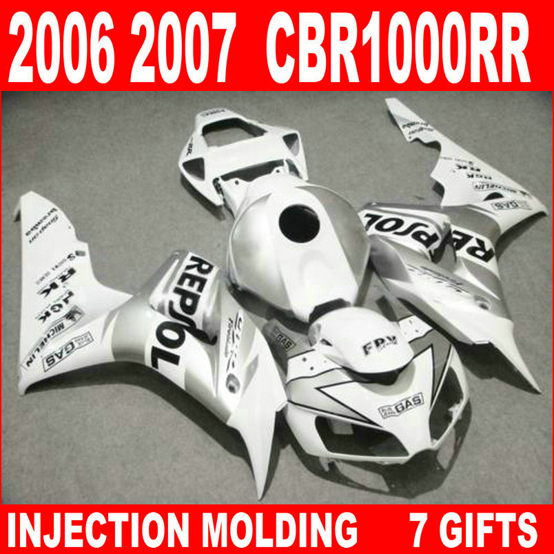 Hot sale injection molding for HONDA cbr 1000 rr 2006 2007 fairings CBR1000RR 06 07 white black silvery fairing kit OB864Hot sale injection molding for HONDA cbr 1000 rr 2006 2007 fairings CBR1000RR 06 07 white black silvery fairing kit OB864