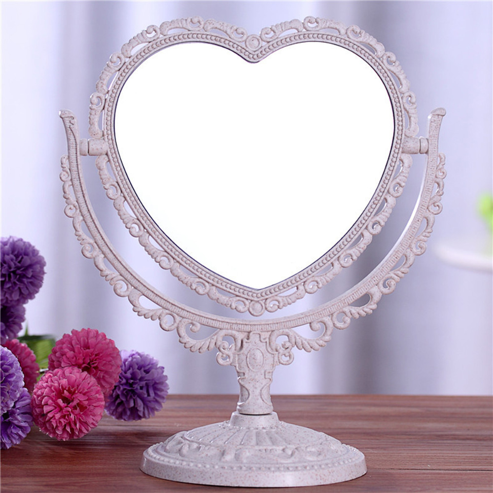 Double Sided Make Up Cosmetic Heart-shaped Mirror Shaving Bath Table On Stand