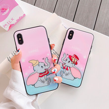 Cartoon Elephant Phone Case for Iphone 6 7 8 Plus Soft Soft Thin Glass Anti-mobile Case for Iphone X Xs Xr Xsmax Protective Case elephant design luminous iphone case