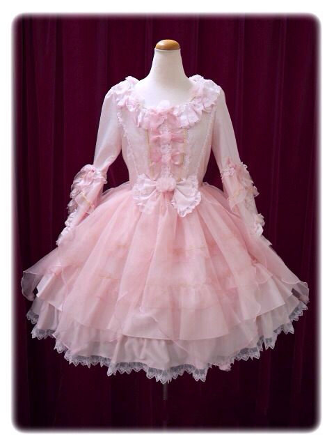 Cute Pink Long Sleeve Cotton Lace Lolita Dresses Classic Bow Ruffles Halloween Dress For Girl