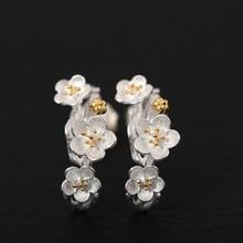 S925 Sterling Silver Stud örhängen för kvinnor Plommon Blossom 14k guldpläterade örhängen Anti Allergy Kvinnors fina smycken