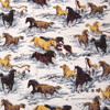 105cm Width Horses In Snow Cotton Fabric For Baby Boy Clothes Bedding Sets Hometextile Patchwork DIY