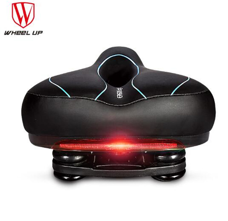WHEEL UP Men Carbon Saddle With Taillight MTB High-elastic Hollow Bicycle Large-area Road Bike Seat New