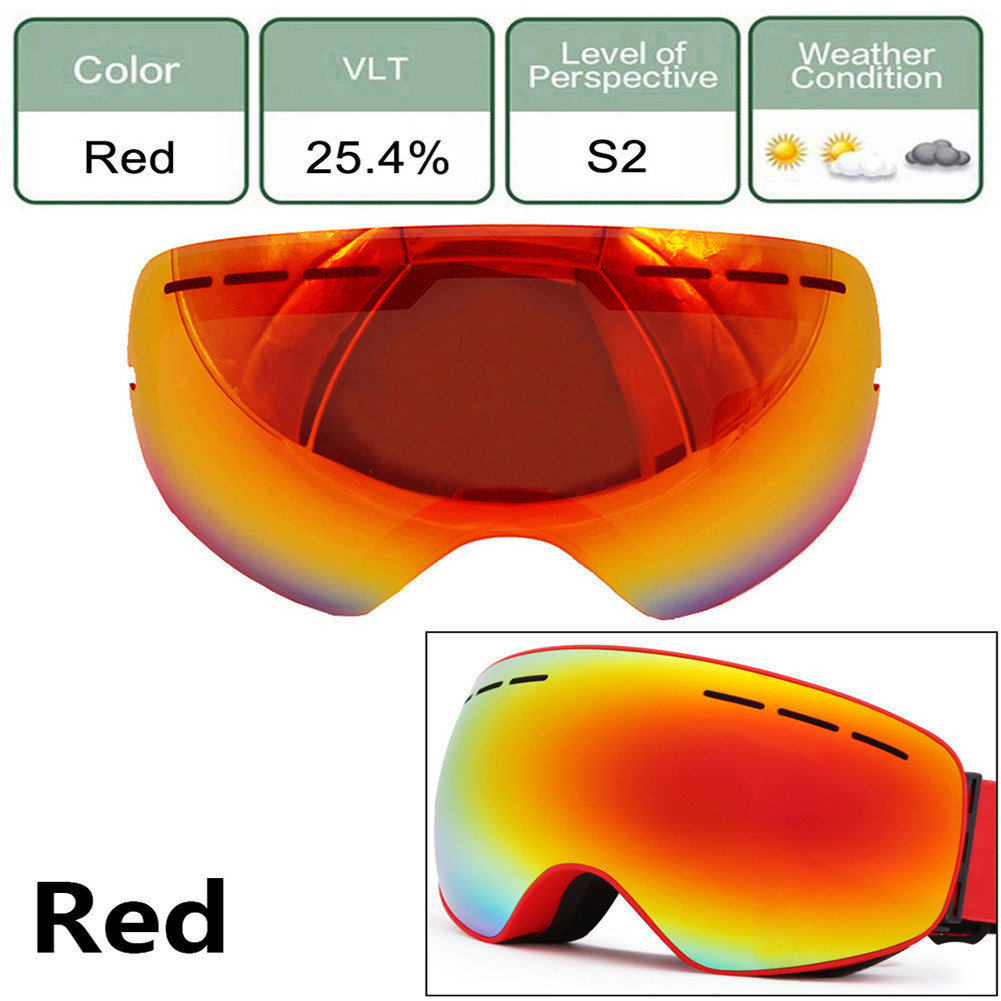 Ski Goggles Mask Lens Cycling Riding Anti-fog Snowboard Winter Sports Eyewear Sunglasses Skiing Glasses Lens UV Protection