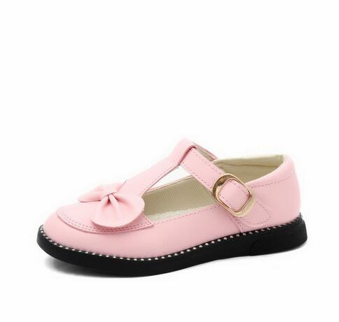 2018 new girl princess party shoes childrens wear bow shoes solid color summer autumn girl sweet flat leather shoes Size 27-37