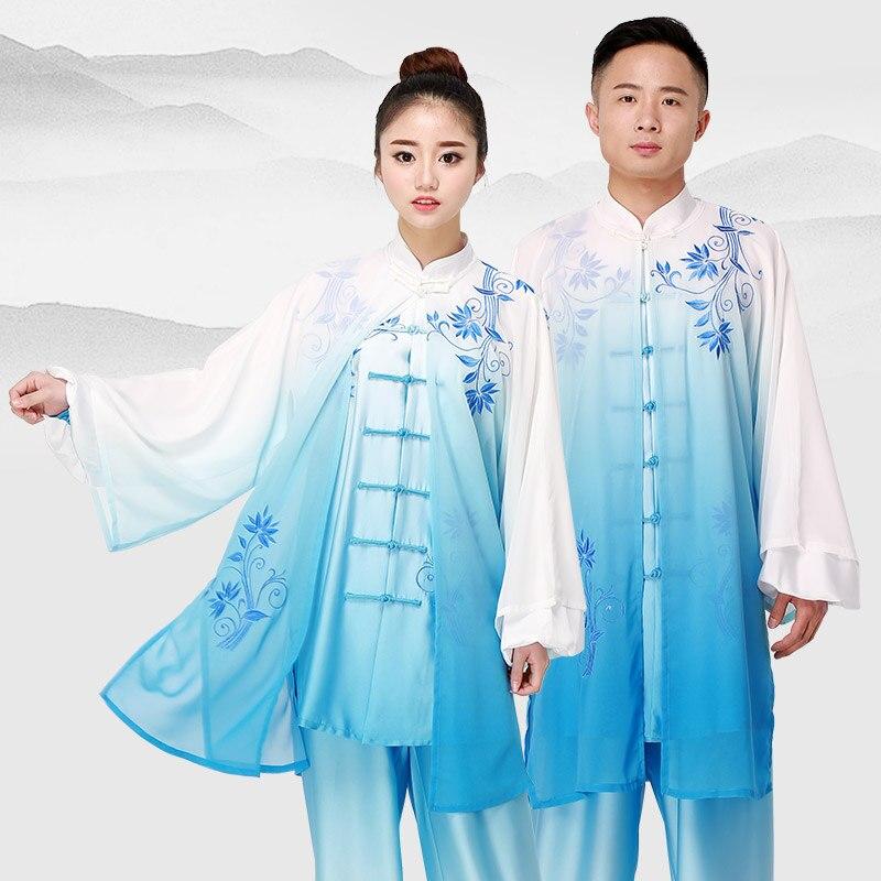 2019 ensemble des arts martiaux chinois wushu uniforme kungfu vêtements arts martiaux costume masculin féminin brodé fil femmes hommes Taiji costume