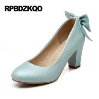 Pink Shoes Women Plus Size Kawaii 10 42 Chunky High Heels Bow 2017 Pumps 11 43