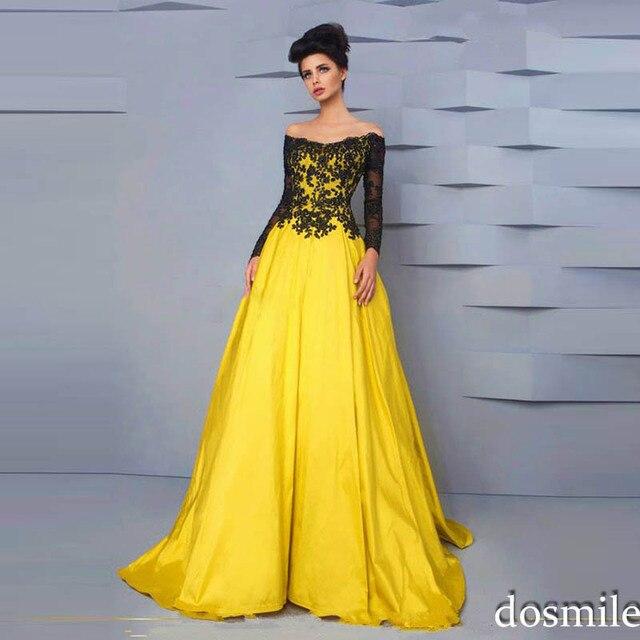 Heißer Verkauf schwarz spitze gelbe boot langarm appliques Ballkleid  abendkleider lange abendkleider plus size abend Kleid f500592dbfc6