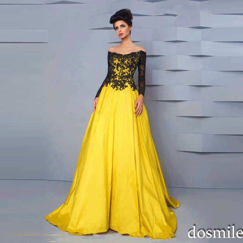 Hot sale black lace yellow boat neck long sleeve appliques for Yellow wedding dresses for sale