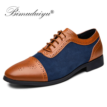 BIMUDUIYU Mens Dress Shoes Lace-Up Leather Oxford Fashion Formal Comfortable NEW Arrival Brogues Business Shoe