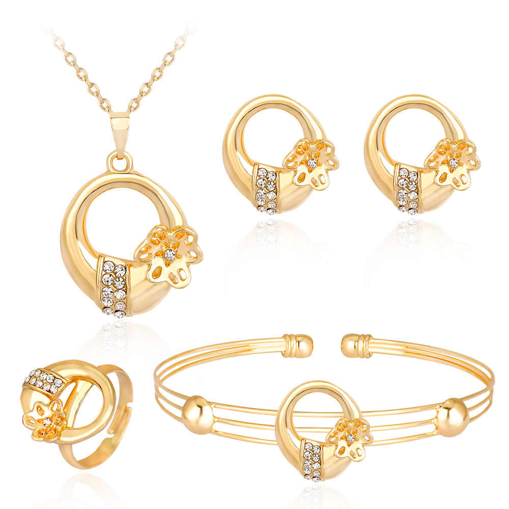 HC Exquisite Flower Round Kids Jewelry Sets Lovely Crystal Gold Color Children Girl's Necklace Bracelet Ring 4Pcs Jewelry Sets T