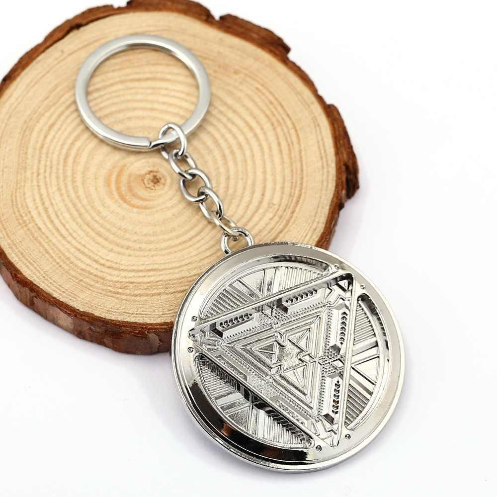 H & Fใหม่Irone manโลโก้พวงกุญแจชุบเงินรอบโล่เวนเจอร์สพวงกุญแจโลหะจี้รูปพวงกุญแจพวงกุญแจ