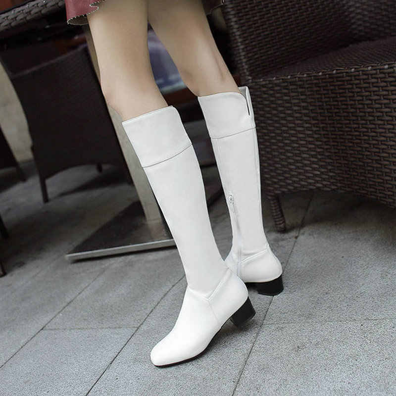 Women's Fashion Square Toe Knee High Boots Autumn Winter Comfortable Thick Heel Long Boots Zipper 2018 Woman Shoes White Black