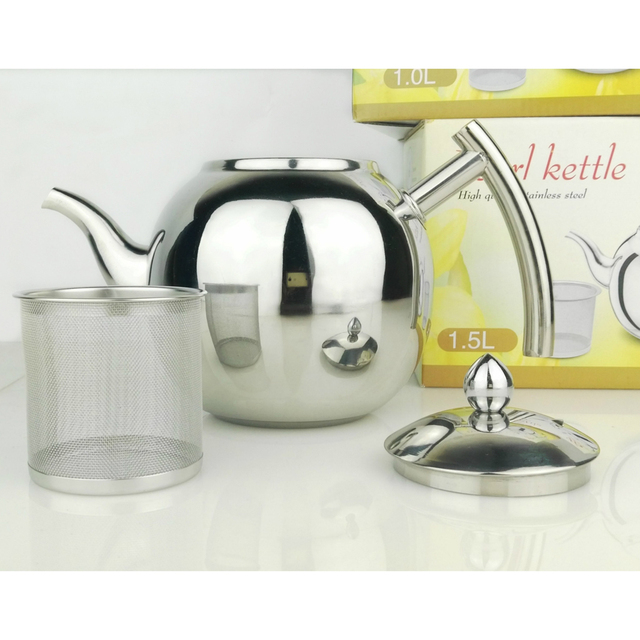 Stainless Steel Teapot Coffee Tea Kettle Loose Leaf Teapot with Infuser 1L 1.5L 2L 2
