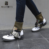 Prova Perfetto Модные ботильоны для женщин стрейч ткани носок пинетки Женские сапоги Mujer на платформе Резиновая обувь на плоской подошве женские
