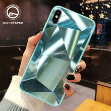 6D Diamond Mirror Cover Case For IPhone 6 6s 7 7plus 8 8plus X XS Soft Silicone Shockproof Tempered Glass Gradient Phone