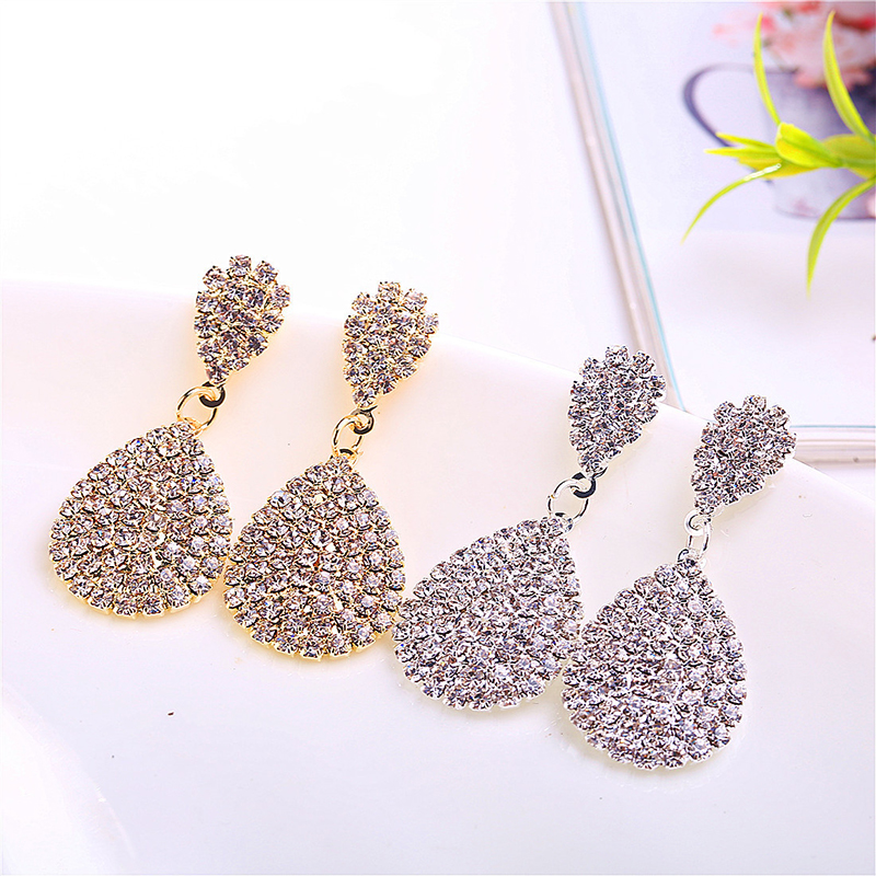 Fashion Gold Silver Color Drop Dangle Earrings with Full Crystal Luxury Water Drop Earrings Bridal Wedding Party Jewelry Gifts