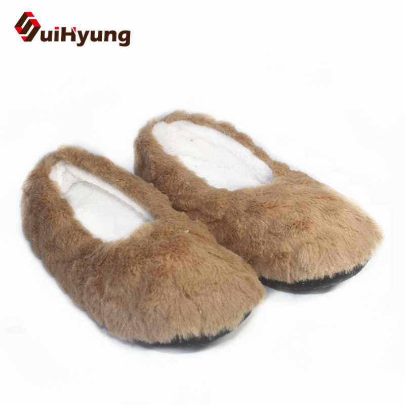 Suihyung Women Winter Warm Indoor Shoes Faux Fur House Floor Shoes Female Home Plush Slippers Slip On Soft Bottom Cotton Shoes faux fur trim driving shoes